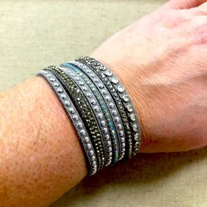 Grey suede and bling bracelet